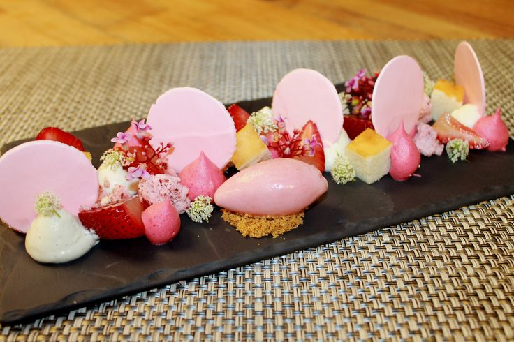 Deconstructed Strawberry Shortcake -Creme Fraiche, Strawberry Meringue, Pound Cake, Compressed Strawberries, Greek Yogurt Strawberry Sorbet, Strawberry Fizzy and Foam | by Pastry Chef Antonio Bachour