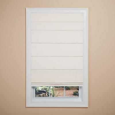 Elegant Home Fashions White Room Darkening Cordless Fabric Roman Shade - 35 in. W x 64 in. L-RSND3564W - The Home Depot