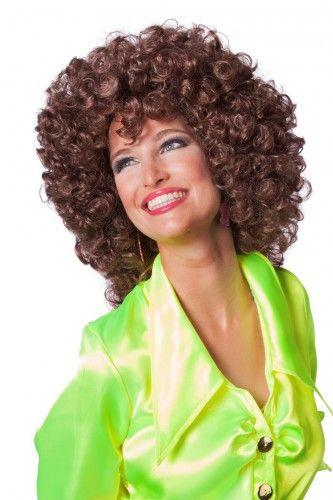 Toppers pruiken bij warenhuis Trendmax, Hoge pruik voor dames met bruine krullen,afro,big,brown,bruin,bruine,disco,hair,halflang,halflange,krul,krullen