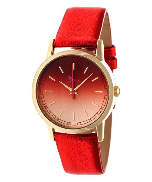 Look at this Gold & Red Ombré Leather-Strap Watch on #zulily today!