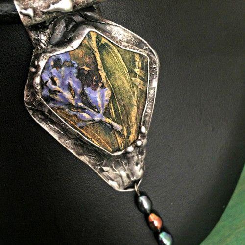 Keramický cínovaný náhrdelník Levandule