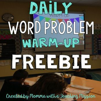 FREEBIE Word Problem Warm UpsEveryday, my students start the day with a word problem warm-up. I project this PDF on the whiteboard, and they get out their own small whiteboards to solve the problem. Looking for other word problem activities?Adding to Word