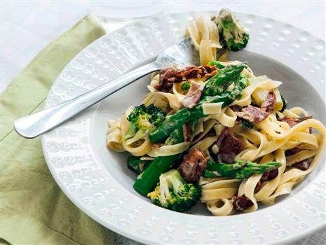 En god, klassisk pasta Alfredo som vi valt att göra vegetarisk genom att byta ut bacon mot fejkon. Lättlagad och minst lika god som originalet!