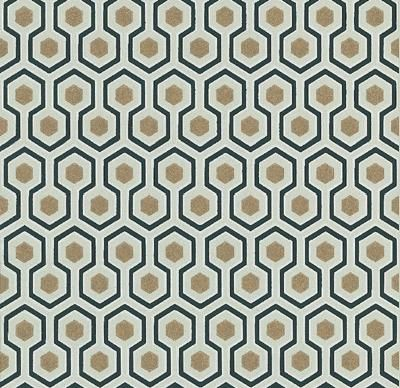 Hick's Hexagon (66-8056) - Cole & Son Wallpapers - An interesting geometric design made up of white, black and gold hexagons by designer David Hicks. Please order a sample for true colour match.