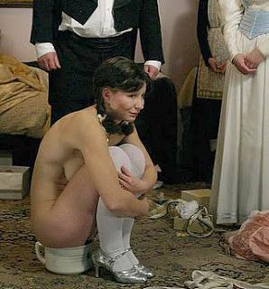 Instead of worrying about building that extra bathroom upstairs in the attic bedroom renovation, use a chamber pot; it's both frugal AND convenient (picture note: back in the day, rich folk thought it no big deal to pee in the presence of servants).