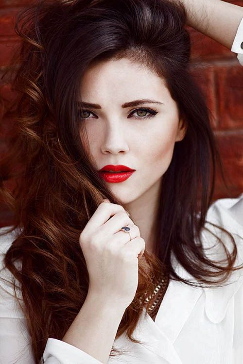 Long hairstyle with brown mahogany hair color
