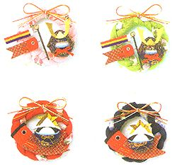 Wreath for children's day made from chirimen,Japanese kimono fabric