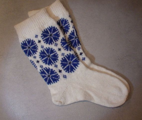 Knitted socks wool socks cornflower pattern flower by AnuCraft