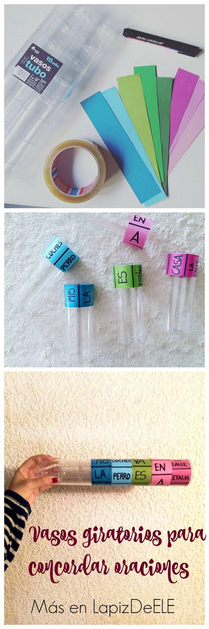DIY: vasos giratorios para concordar oraciones (Género, número, tiempos verbales, preposiciones, complementos circunstanciales...).