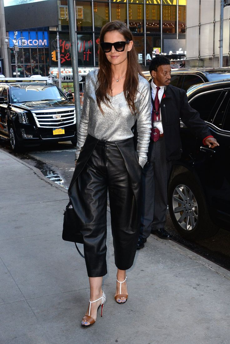 Katie Holmes Wears Leather Culottes and Wins