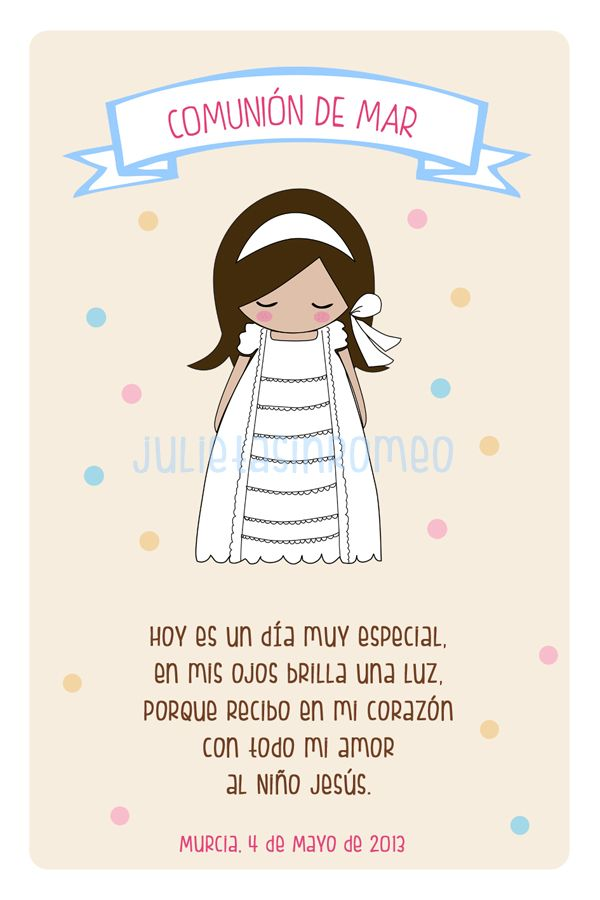 Tarjeta recordatorio Primera Comunión - First Communion Reminder Card