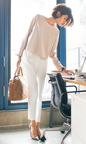 Simply chic...  Love the fact that it's polished but still comfortable and love the neutral shirt.