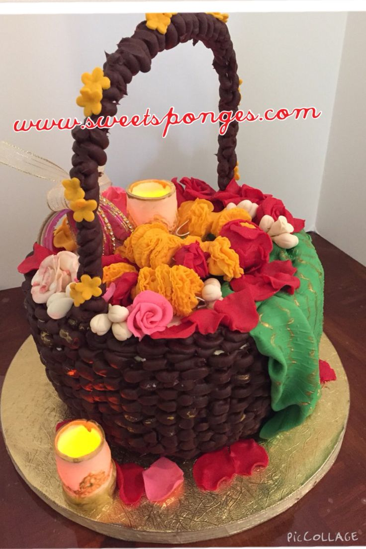 Mehndi Flower Baskets : Best images about mehndi and dholki cakes on pinterest