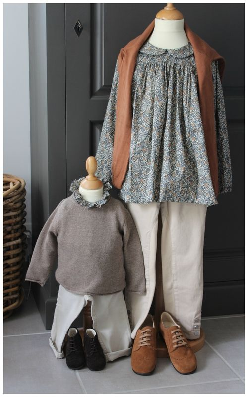 Lovely fall clothes for siblings | Liberty Emma & Georgina | Agnes blouse by Citronille and Ruffled collar blouse by Enfant Roi