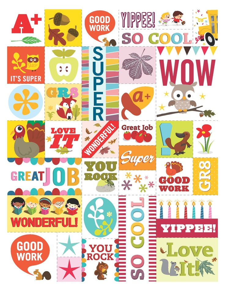 Feel-good stickers for students (feel free to print 'em!). From Scholastic Instructor magazine.