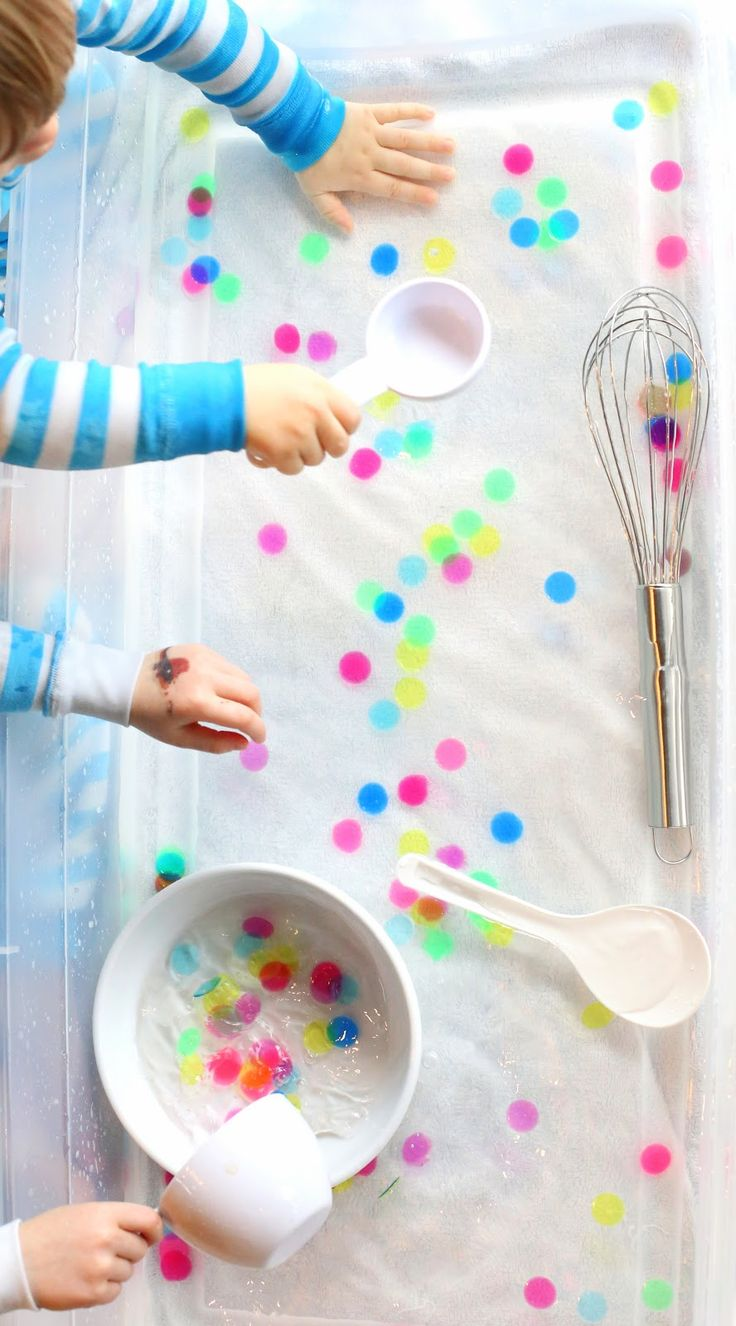 Water Sensory Play:  Polka Dot Soup from Fun at Home with Kids