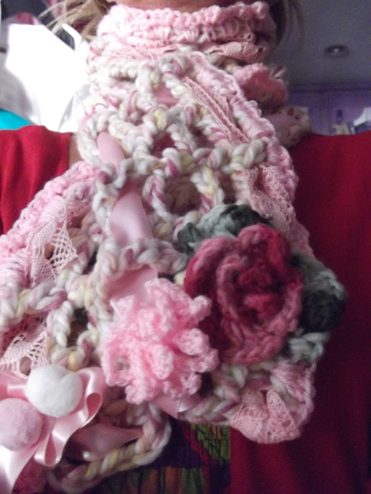 wool scarf, crochet, lace and satin ribbon