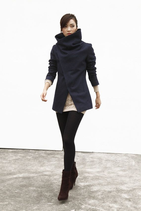 Navy Blue High Collar Jacket Winter Wool Women Coat - Custom Made - NC493 (159.99 USD) by Sophiaclothing