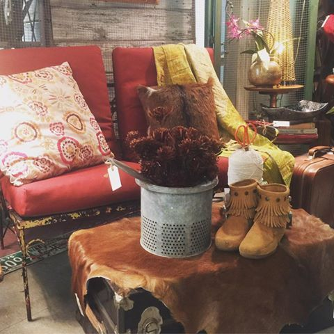 Vintage Outdoor furniture + goat hide + trunk from Cactus Creek in Weston MO - love this for a sun porch!!