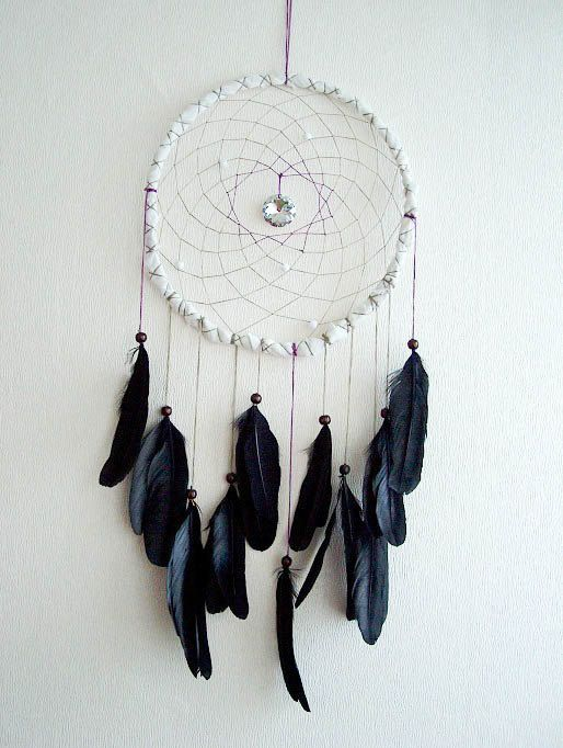 Dream Catcher - Black Lady - With Sparkling Round Crystal Prism and Natural Black Feathers - Home Decor - perpetumobile