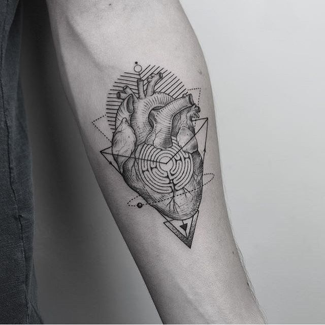 Geometric Heart Tattoo Artist: EQUILATTERA  Private Tattoo
