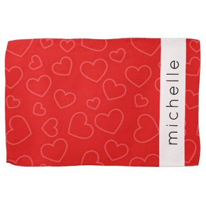 Your Name - Love Romance Hearts - Red Towel - fall decor diy customize special cyo