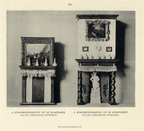 Afbeelding van de schoorsteenmantels uit de slaapkamer (links) en konstkamer (rechts) van het 17e eeuwse poppenhuis, onderdeel van de collectie van het Stedelijk Museum van Oudheden te Utrecht, gevestigd in het huis Het Hogeland (Museumlaan 2) te Utrecht, 1909.