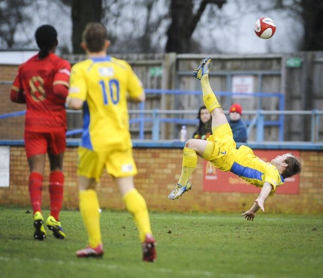 Action from King's Lynn Town v Ilkeston at The Walks - Andy Hall with an over head kick. Picture: Matthew Usher.