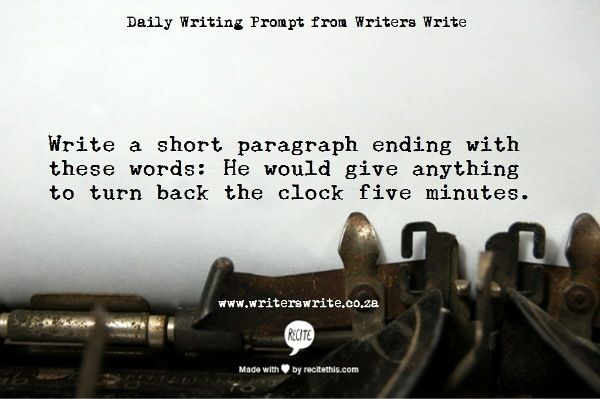 Daily Writing Prompt - Writers Write Creative Blog. Awesome idea for morning work.