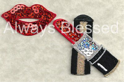 LIPSTICK & LIPS - COSMETICS IRON ON APPLIQUE PATCH - RED SEQUIN/EMBROIDERED