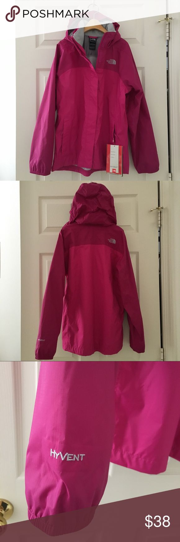 """The North Face NEW Girls Waterproof Resolve Jacket BRAND NEW The North Face Girls' Fuchsia Pink waterproof hooded Resolve jacket.  The hood can be folded and """"hidden"""" inside the collar. The jacket has 2 zip hand pockets. Interior mesh lining. Lightweight. Machine washable.  HyVent technology - Waterproof, Breathable, Durable  Size: Youth Girl's LARGE (14/16) The North Face Jackets & Coats"""