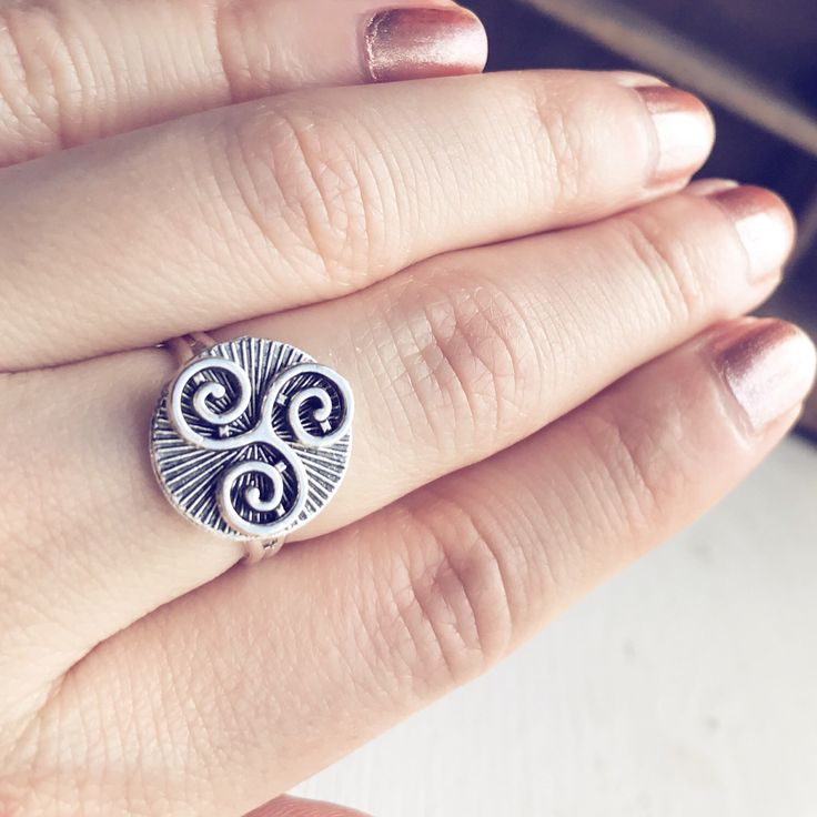 Triskelion Ring / Adjustable Antique Silver Celtic Symbol Merlin BBC Inspired Cosplay Costume TV Series Show Renaissance Faire Tribal Gypsy by lydiasvintage on Etsy https://www.etsy.com/listing/502877100/triskelion-ring-adjustable-antique