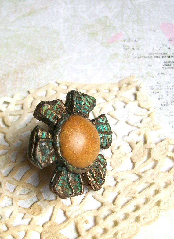 Yellow bronze patina cocktail ring polymer clay oversize statement ring sun shape flower shape The Tired Sun