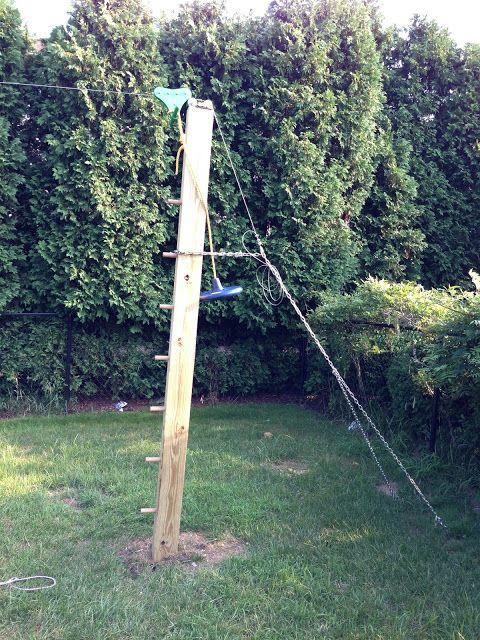 Backyard Zip Line: Zip-Line Build Pics: posts, chain, seat, bumper, steps |  Yard | Pinterest | Zip line backyard, Backyard and Kids backyard playground. - Oooh! Backyard Zip Line: Zip-Line Build Pics: Posts, Chain, Seat