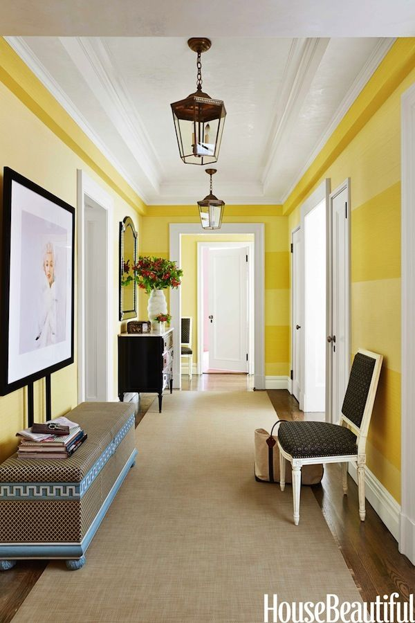 Vibrant yellow striped walls.