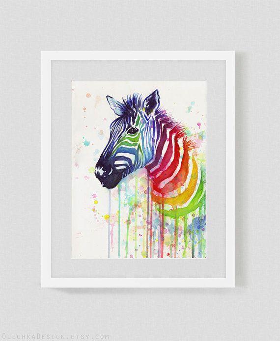 Watercolor Painting, Art Print, Rainbow Zebra, Ode to Fruit Stripes; Home Decor, 8x10