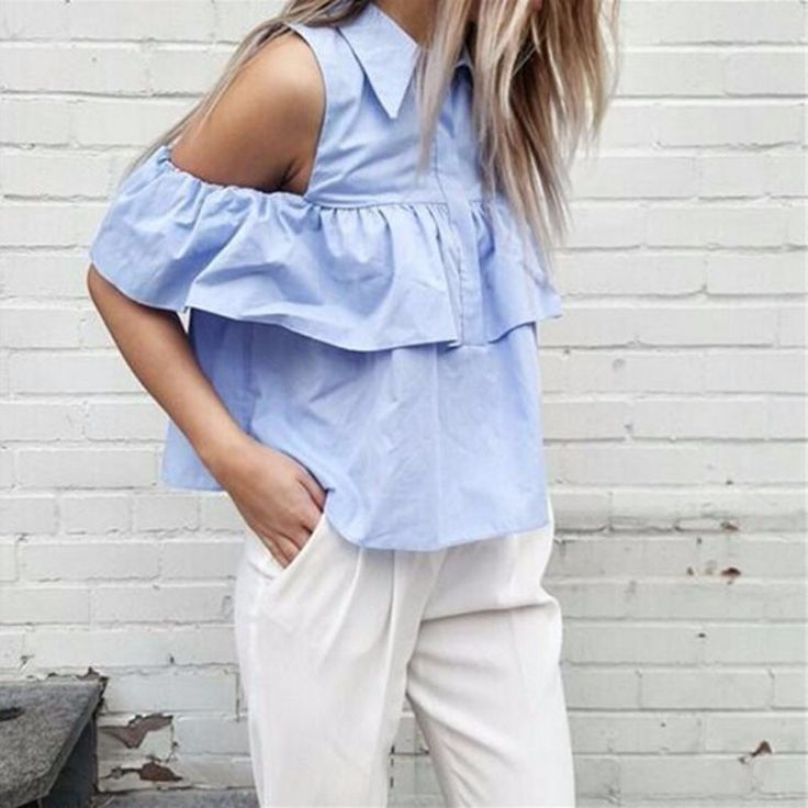 New-Arrival-2016-Summer-Style-Women-Off-Shoulder-Casual-Blouse-Shirts-Blue-WHITE-Ruffles-Short-Blusas (1)