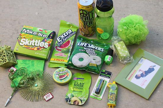 green| color themed gift basket