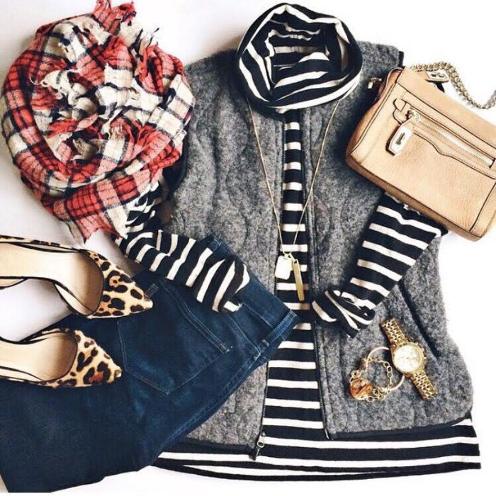 Cristin Cooper of The Southern Style Guide styles a fall outfit with striped turtleneck, grey vest and plaid scarf.