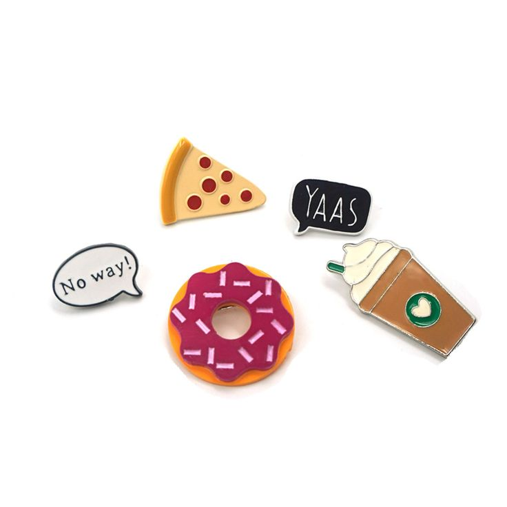 Fashion Summer Style Enamel Brooch Pins set Cute No way Speech bubble Coffee Pizza Donuts Brooch Set Women Jewelry Party