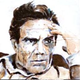 Pier Paolo Pasolini Oil & watercolor on canvas 20x20