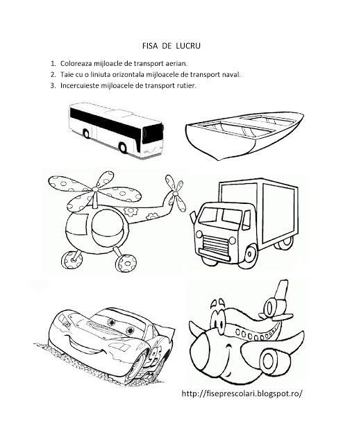 FISE de Lucru cu Mijloace de Transport pentru copiii de gradinita | Fise de lucru - gradinita
