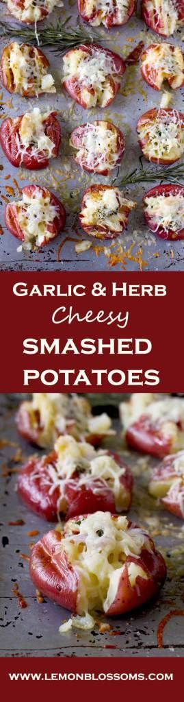 These Garlic & Herb Cheesy Smashed Roasted Potatoes are soft and creamy on the inside and crispy golden on the outside with a garlic and herb butter smashed in. To top it all, cheese! Yummy, gooey, melted cheese!! These are perfect as a side dish or as an appetizer. #potatoes #apppetizer #sidedish #partyfood #gameday #cheesy