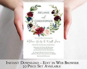 Marsala Wreath Wedding Invitation Template   Printable Burgundy Wedding Invitation   Instant Download   Navy   Greenery   Garden   PDF DIY