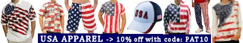 Flag Shirt, a USA Patriotism! retail partner, is offering an extra 10% off its USA / Americana theme ... polo shirts, t-shirts, shorts, hats, caps, swimwear, sweatshirts, hoodies, ties, jackets, under garments, and other apparel items with a special promo code... PAT10 ... for USA Patriotism! followers.  Take advantage of this special 10% discount by going to https://www.theflagshirt.com/?Click=2780 ... and use promo code ... PAT10.