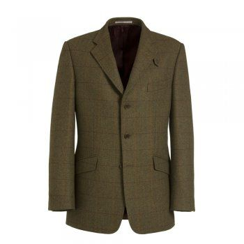 A beautifully tailored Magee action-back shooting jacket. The style is regular fitting, with a concealed elastic strip across the back allowing for a full range of movement in the shoulders. An ideal jacket for early-season shooting. The tweed is a moss green with a subtle red and orange check. Features include, deep internal poachers pockets, slant flap pockets, a functional storm-tab, contrasting under-collar and side vents.