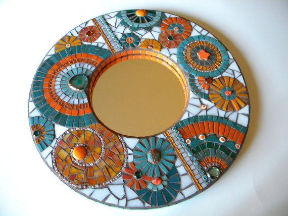 Orange & Teal Round Mosaic Mirror Original Art by TheMosartStudio, $300.00