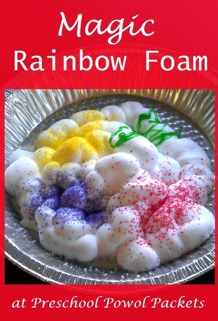 Magic Rainbow Foam Sensory Science Experiment!  #preschoolactivities #kidsscience