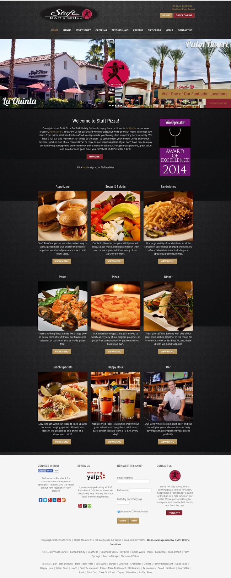 Web design for the restaurant Stuft Pizza Bar and Grill, driving customers to locations in Palm Desert & La Quinta.