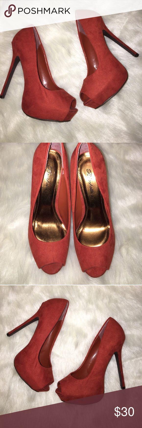 Rusty red peep toe platform heels Rusty red peep toe platform heels heel is 5.5 inches with a 1 inch platform Breckelles Shoes Platforms